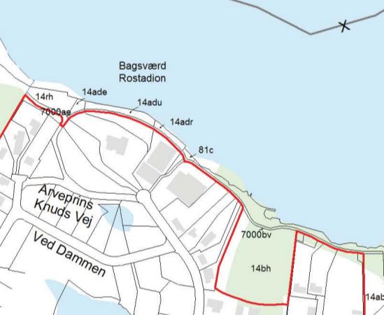 Uddrag af kort over fredningen af Bagsværd Sø