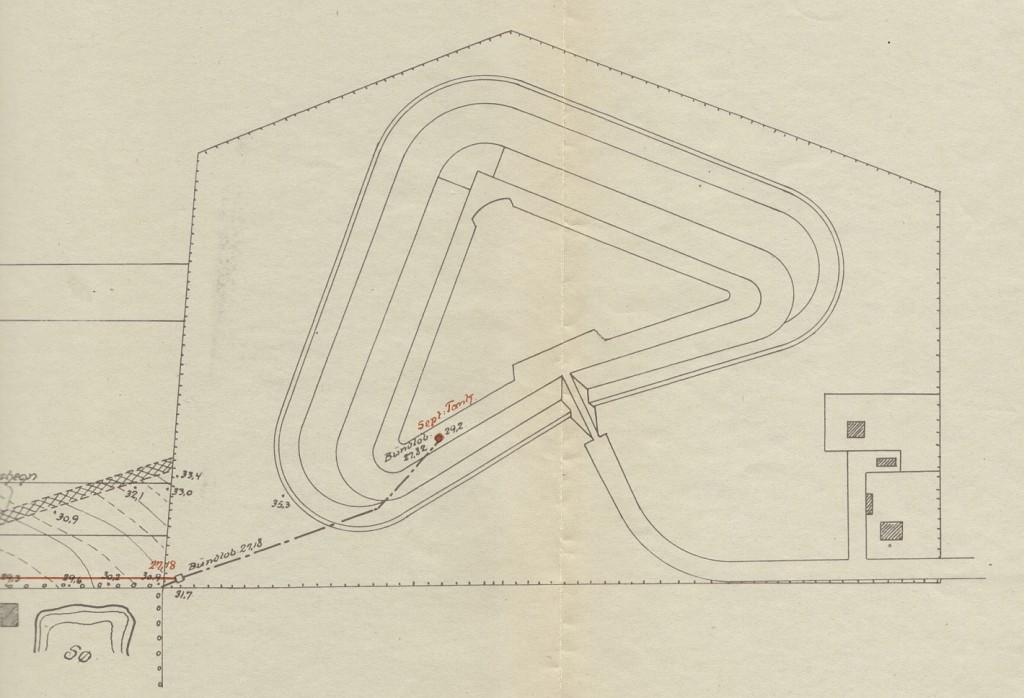 Lyngbyfortets kloaki 1916 med udløb til fiskemester Nielsen dam ved Villa Fredbo.