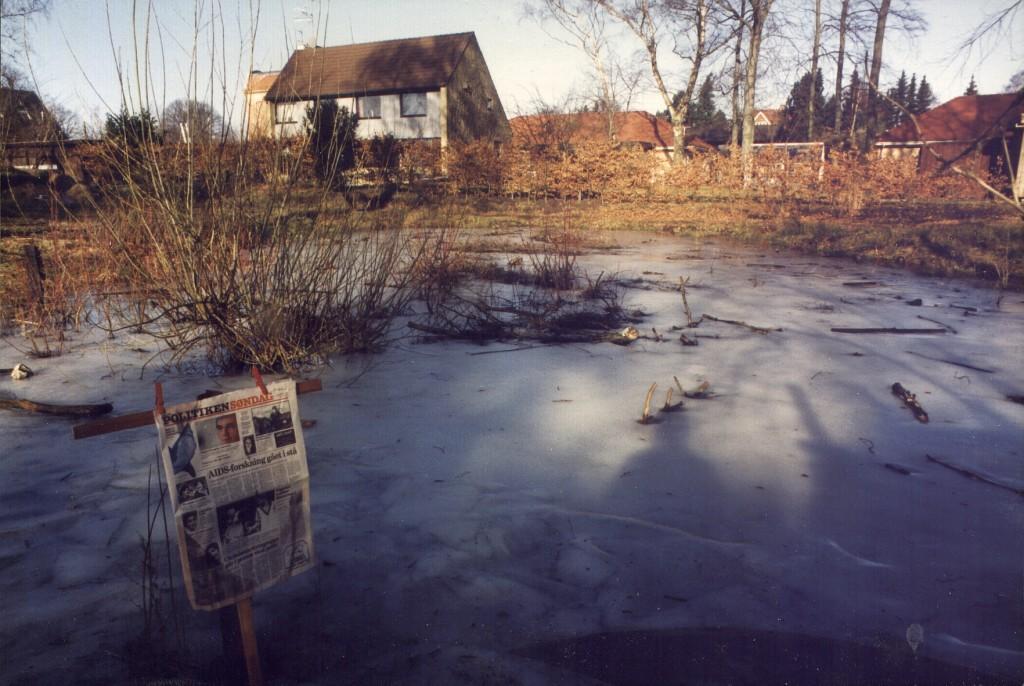 Oversvømmelse på Stenkrogen omkring 1995.