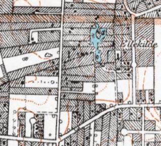 Kortudsnit med lergraven fra perioden 1928-1940. Man ser den afskårne dam ved Borremosen.