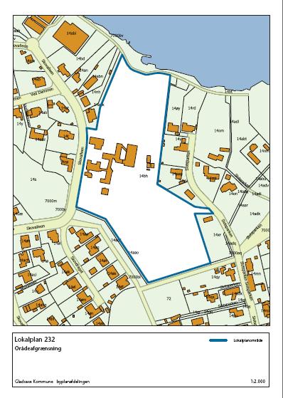 Afgrænsning af området for lokalplan 232
