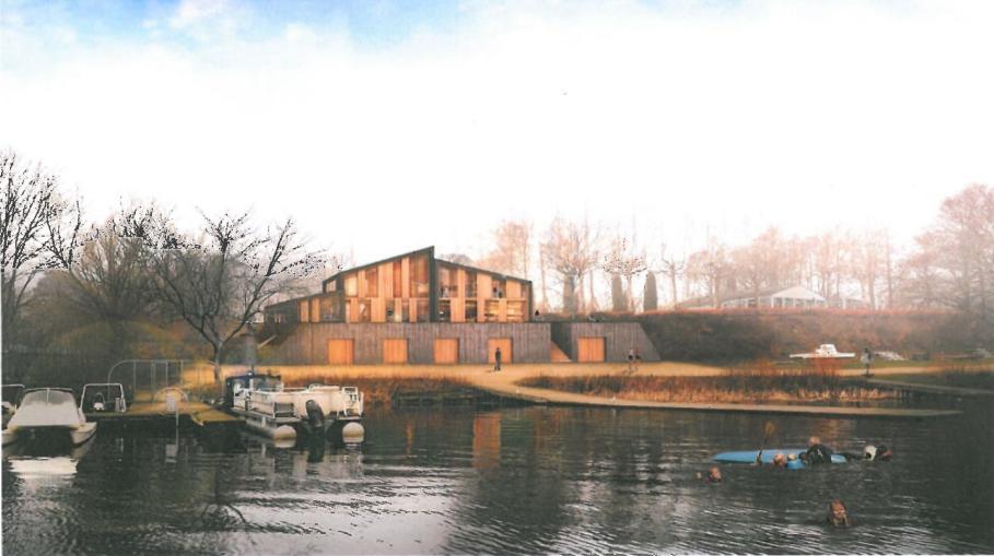 Arkitektfirmaet Mangor og Nagels forslag til erstatningbyggeri ved Bagsværd Sø