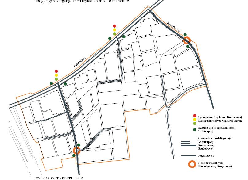 Helhedsplanens illustration af fremtidige veje i Bagsværd Bypark