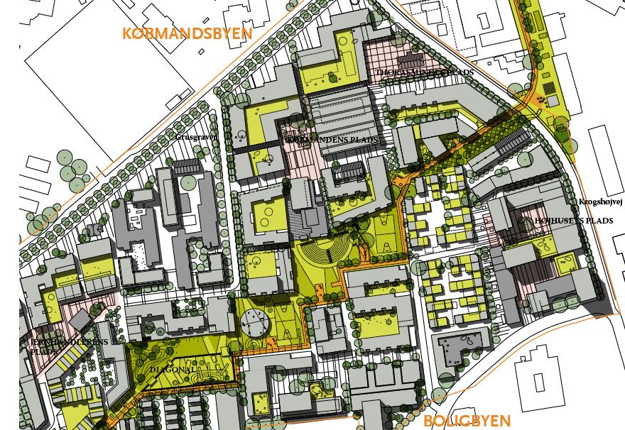 Del af Bagsværd Bypark med diagonalforbindelsen i gult.
