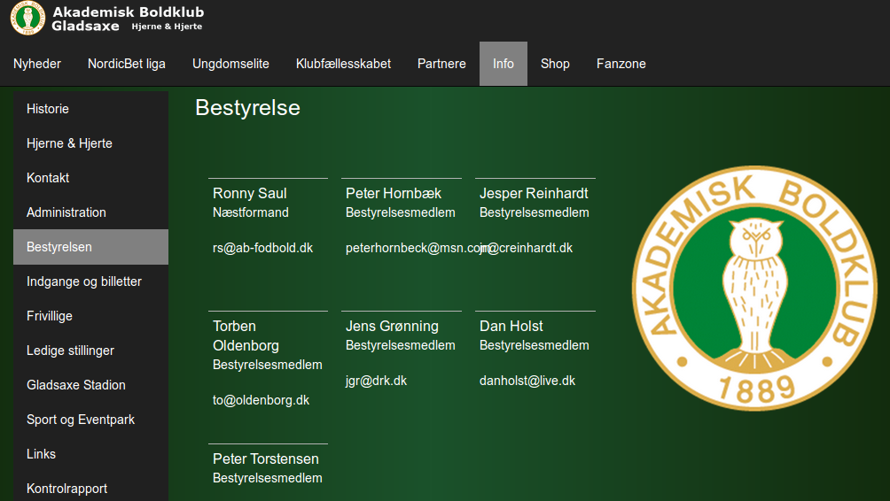 Bestyrelsen på ABs hjemmeside 10. november 2014